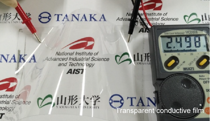 Figure 1. Transparent flexible substrates with 0.8 μm wiring (Source: AIST, the University of Tokyo, Yamagata University, TANAKA KIKINZOKU KOGYO, and the Japan Science and Technology Agency (JST))