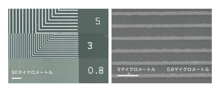 図3 得られた微細な配線 出典:産業技術総合研究所、東京大学、山形大学、田中貴金属工業、科学技術振興機構